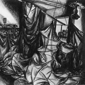 Г.В.Намеровский. Из серии  Ханты-Мансийск. 1976.Б., уголь.
