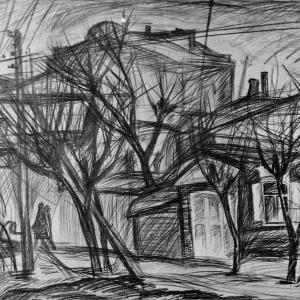 Г.В.Намеровский. Деревья и дома. 2012. Б.,карандаш. 50х60