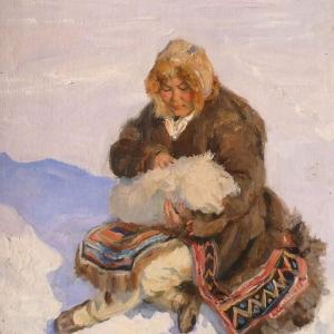А,Н.Осипов (1928-2017). Северная мать 1960г.х.к.м.,80х60