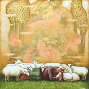 бисалов Ю.Х. Обеденный сон пастуха. Х. м., 100х100см. 2010