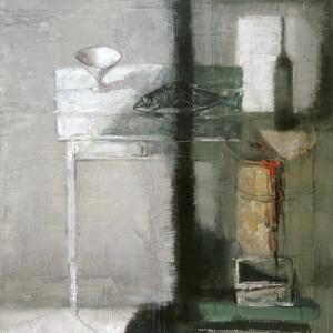 Натюрморт с белым столом. 2001. Бумага, гуашь. 120х100